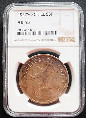 1927 SO Chile 5 Pesos , NGC AU 55  , nice silver coin, attractive toning