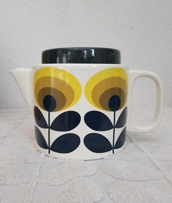 Orla Kiely ~ 70s Oval Flower Yellow Teapot ~ Brand New In Box ~ Free Post