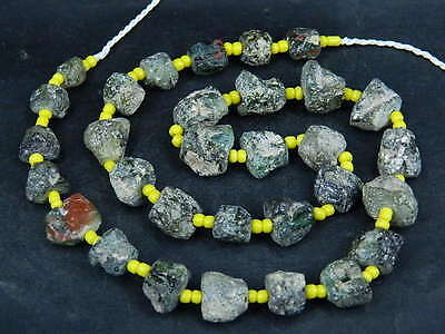 Ancient Fragment Glass Beads Strand Roman 200 BC #BE1372