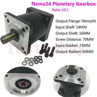NEMA34 Ratio 10:1 Planetary Gearbox Speed Reducer 16mm Input for Stepper Motor