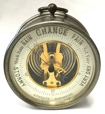 Antique Unusual Barometer With Open Dial And Feet As Well As Loop Chrome