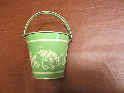 VINTAGE ANTIQUE 1930s 50s SMALL METAL SAND PAIL BEACH WATER  BUCKET KIDSPLAY TOY