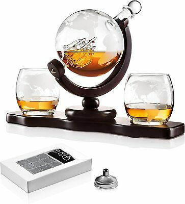 Globe Liquor Decanter set with 2 Etched Whisky Glasses - for Liquor, Whiskey