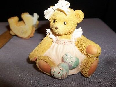 """Cherished Teddies Bear Amy and Friend Figurine """"Hearts Quilted With Love"""" 1992"""