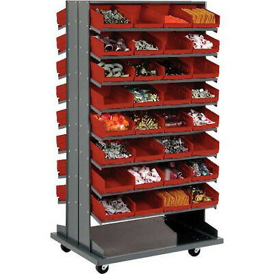 """Double-Sided Mobile Rack, 16 Shelvs with (64) 8""""W Red Bins, Lot of 1"""