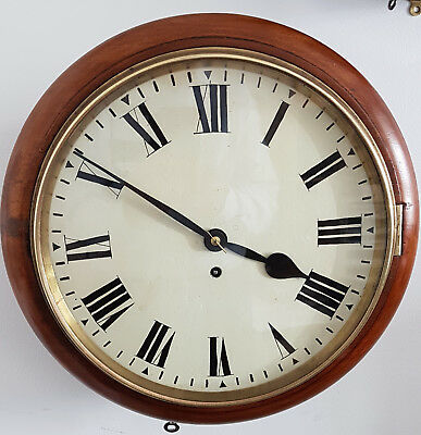 Late 19th Century Mahogany 12 inch  Fusee School/Railway Clock in GWO