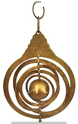 Nautical Brass Astrolabe Arabic Globe Navigation Heavy Astrological With Rings