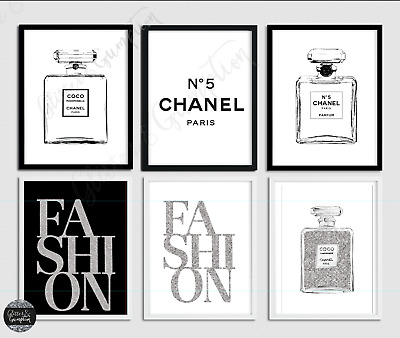 Perfume Silver Monochrome Fashion Art Quote Home Decor Wall Living Room Prints