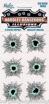 6 Fake Glass Smashed Broken Window Bullet Hole Stickers Funny Joke Boys Present
