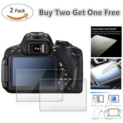 2 Pack 9H Tempered Glass LCD Screen Protector for Canon EOS 760D Rebel T6s DSLR
