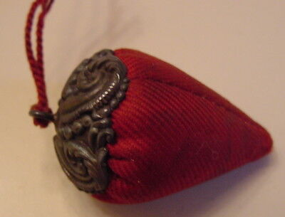 Antique Red Silk Strawberry Sewing Emery with Marked Sterling Silver Top