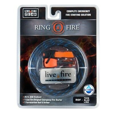 (Thin Blue Line) - Ring O Fire by Live Fire Gear - 550 Paracord with a Fire