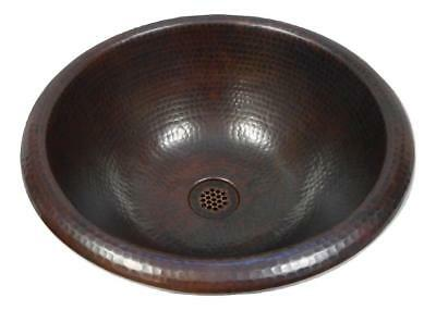 "Medium Size 15"" Round Copper Bathroom Sink Self Rimming with 19-Hole Grid Drain"