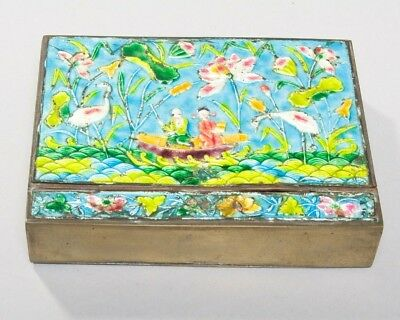 "Antique Chinese Brass Repousse Enamel Decorative Hinged Rectangular Box 6"" x4.5"""