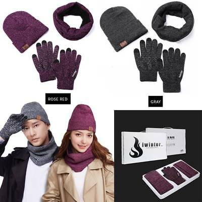 3tlg Herren Damen Winterset Mütze Schal Handschuhe Windproof Warme Sets