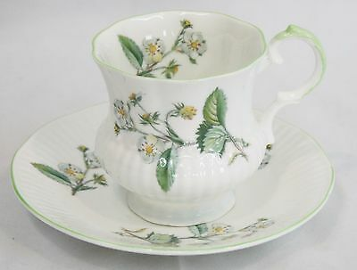 Elizabethan White Mint Green Floral Teacup Saucer Bone china England
