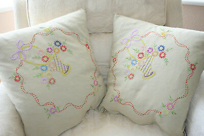 Pair Charming Early Vintage Hand Embroidered Cushion Covers.