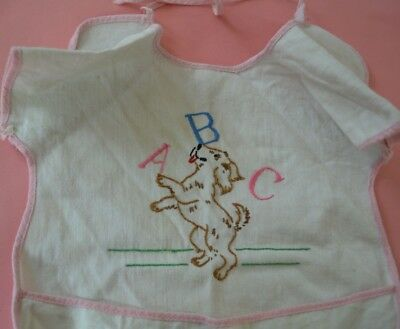 Vintage c 1940s Embroidered ABC's Kids Baby Apron Smock Bib with Pockets