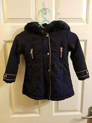 2f3d678f43f2 GIRLS TED BAKER HOODED COAT WINTER JACKET NAVY BLUE AGE 2-3 YEARS ...