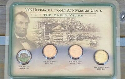 """2009 Ultimate Lincoln Cents 4 Coin Set ~ UNCIRCULATED ~ """"The Early Years"""" NEW!"""