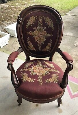 Antique Victorian Tapestry Fireside Lounge Arm Living Room Arm Chair