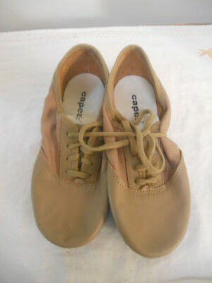 (New) ''Capezio'' Tan Lace up Leather Split Sole Jazz Shoes, Kids Size 3 W