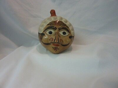Vintage Mexican Tonala Pottery Hand painted Head bank 1950's