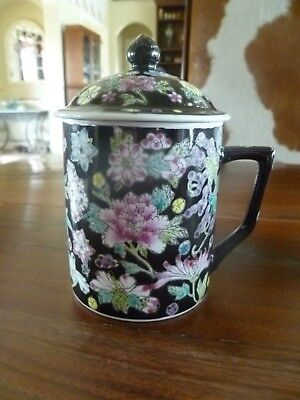 Vintage, Hand Painted Chinese Porcelain Tea/Coffee Cup Mug With Lid