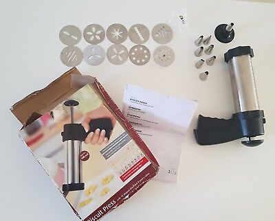 Milomex BISCUIT PRESS 10 shaped discs & 8 pastry tubes