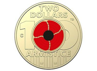 5 x 2018 $2 'C' Mintmark Uncirculated Coin Remembrance Day-Armistice Centenary