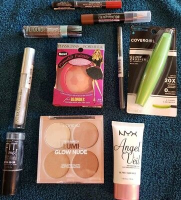 Lot Of Ten (10) Brand New In Pkg Makeup Items, Mascara, Lip Color, Liners - New2
