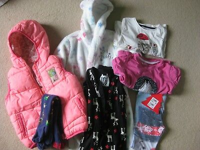 Bundle of 7 girls clothes age 3-4. Mainly Xmas items - 3 Next (1 new) and M&S