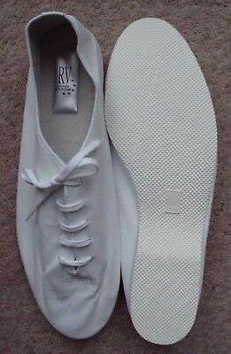 Jazz Shoes Adult UK 10½ White Leather Full Sole Dance Stage Musical Theatre NEW