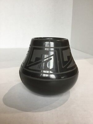 Native American Black On Black Pottery Bowl - Signed By Martha Appleleaf