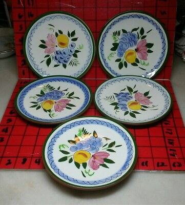 """5 Stangl Pottery Fruit and Flowers Bread & Butter Plates 6.25"""" Hand Painted USA"""
