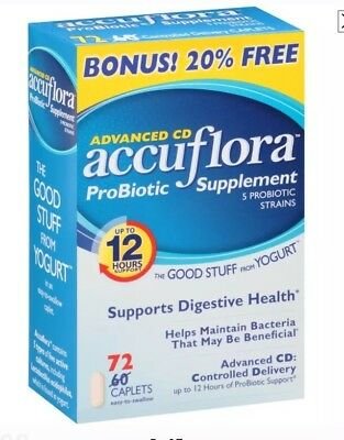 Accuflora Advanced CD Probiotic Supplement caplets, 72 Count -Expiration 05-2019