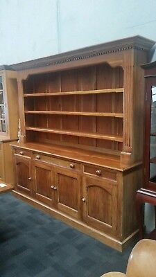 HUGE SOLID MAHOGANY FARMHOUSE  DRESSER BUFFET AND HUTCH in great condition