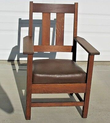 Signed Arts and Crafts Quarter Sawn Chair Trade Mark Quaker Mission Craft Label