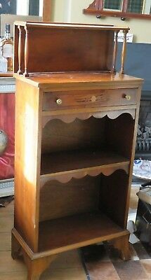 Small Edwardian stained pine cabinet display shelf  inlaid draw shelves Pretty