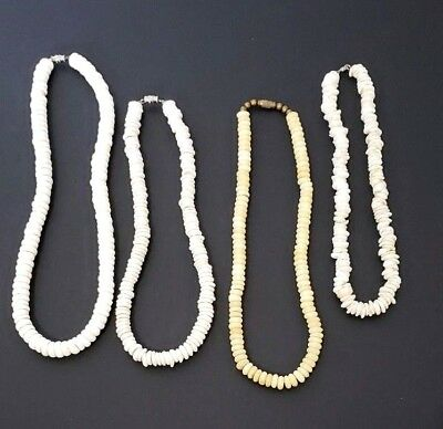 Lot of Four Vintage Puka Shell Chocker Necklaces