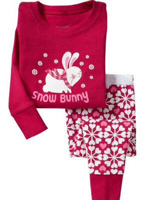 Kids Girls Christmas Pyjama Set PJ's Nightwear Snow Bunny Xmas 2 - 5yrs