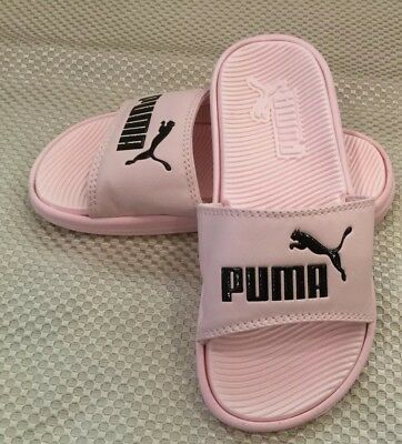 b1ebdc6df8e5 PUMA GIRLS BLACK PINK Slide Sandals Youth Size 2 Adjustable NWT ...