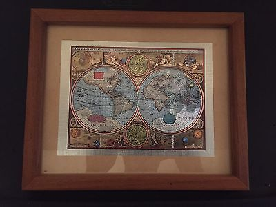 """A NEW AND ACCVRAT MAP OF THE WORLD WOOD FRAME ART  11""""x9"""""""