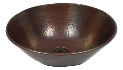 "Round 14"" Hand Forged Copper Vessel Bath Sink with 19-Hole Grid Drain Included"