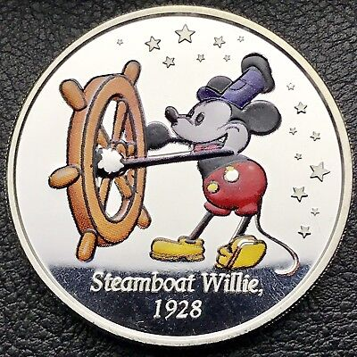 Disney's Colorized Mickey Mouse Steamboat Willie 1 oz .999 Silver Coin (2120)