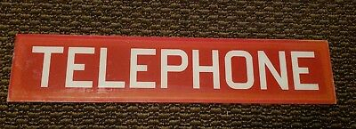 """Vintage Red GLASS PHONE BOOTH Insert Panel SIGN Public Telephone Booth  25 ½"""""""