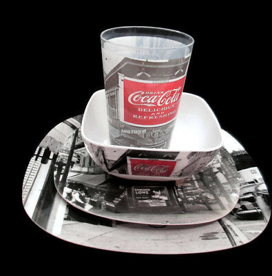 Coca-Cola Coke Noir Melamine Melacore Dinnerware Set 4 Place Settings