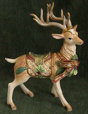 """Fitz & Floyd Florentine White Stag Reindeer Faces Right 13"""""""