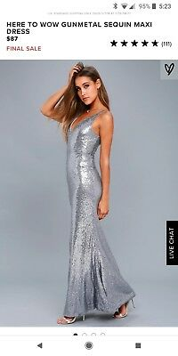 LULUS HERE TO Wow Matte Rose Gold Sequin Dress Maxi Dress Size Small ... 8a58f8c30