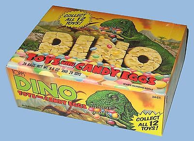1988 - Topps - Dino - Dinosaur Toys With Candy Eggs - 24 Bags - 24 Toy Dinosaurs